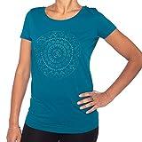 Bodhi Yoga Shirt Damen ETHNO-MANDALA, petrol, 100% Bio-Baumwolle, Kurzarm T-Shirt mit Print