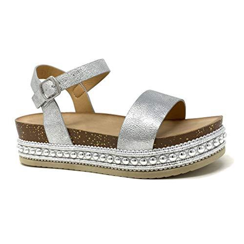 Angkorly - Damen Schuhe Sandalen - Folk/Ethnisch - Bequeme - Flache - Nieten-Besetzt - String Tanga - Kork Keilabsatz high Heel 5 cm - Silber 2 1039 T 39