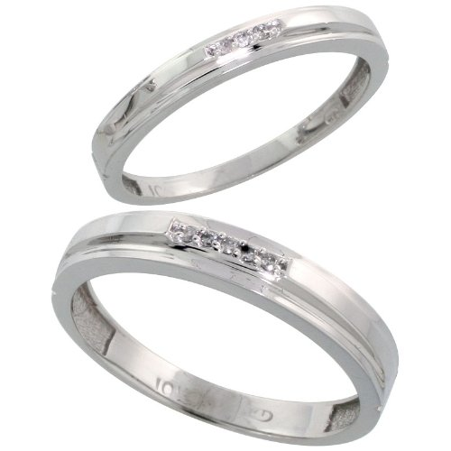 14ct White Gold 2-Piece Diamond Wedding Band Set, His (4mm) & Hers (3mm)