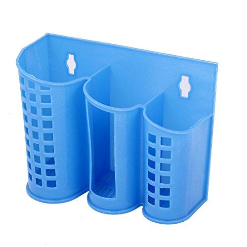 Sourcingmap® Creux en Plastique Compartiment 3 cuillère Baguettes Panier Boîte Support métallique Bleu