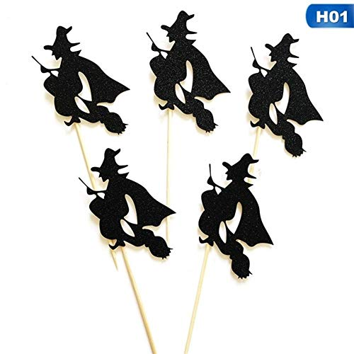 Halloween Cupcakes Toppers - Yangshan 5 Teile/Paket Geist Hexe Katze