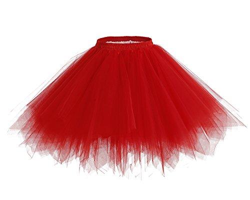 coat Kurz Ballett Tanzkleid Tutu Tüllrock Rockabilly Unterrock Red XL (Bambi Kostüm Für Kinder)