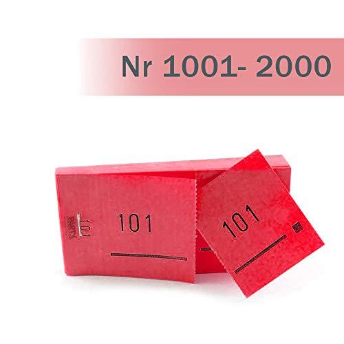 (PARTY DISCOUNT Doppelnummern-Block 1000 Abrisse Nr 1001-2000 rot)