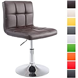 CLP Chaise Lounge Design Palma V2 Similicuir I Chaise Design Rembourrée Pivotante Hauteur Réglable I Coutures décoratives et Accoudoirs Marron