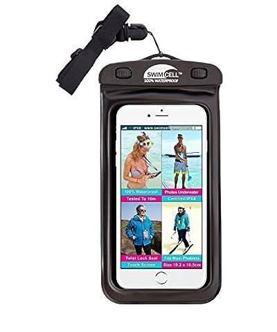 # 1swimcell 100% wasserdicht Schutzhülle für Handy, Schlüssel, Geld, Kamera. High Qualität, wasserfester Abdeckung für Iphone und Android. ZERTIFIZIERT IPX8. Patentierte, einfach Twist Lock Seal. Verstellbarer Riemen.. Getestet 10m Unterwasser. 2Größen für alle Handys., PVC, schwarz, L