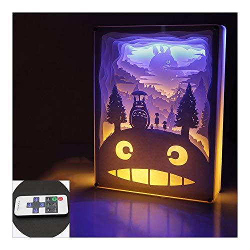 HHCC 3D Stereo Light Paper Carving Lampe Fernbedienung 8 dynamische Effekte 10 Stufen Dimmen Anime handgefertigte Kristall/Holzrahmen Tischleuchte,Woodenframe