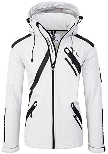 Rock Creek Herren Softshell Jacke Outdoor Regenjacke Softshelljacke Windbreaker Laufjacke Wanderjacke Funktions Sport Jacken H-127 White M