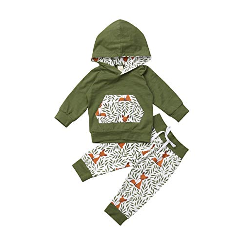Kleinkind Baby Junge Mädchen Baumwolle Outfit Set für 0-24 Monate Langarm Rose Hoodie Floral Lange Hose Stirnband 3 Bilder (18-24 Monate, Grün)