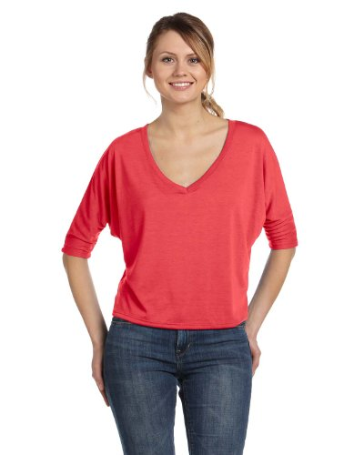 Bella Canvas BE8825 fluido CROP-Maglietta con collo a V Rosa