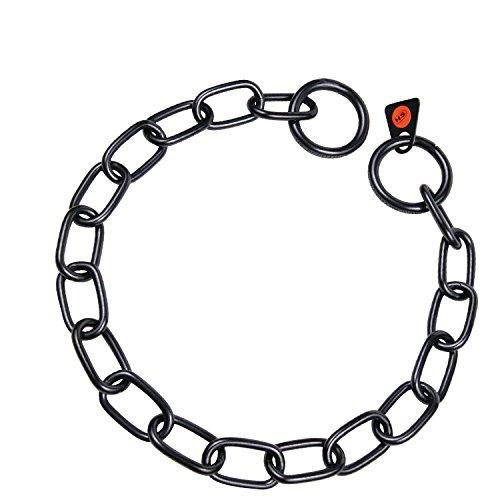 -Sprenger Kettenhalsband Mediumkette mit 2 Ringen Edelstahl geschwärzt 3 mm für Hunde bis 55 kg (55 cm)