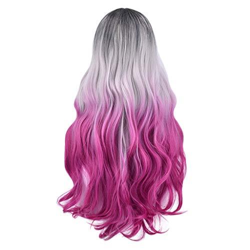 Echthaar Lace Wigs für Frauen,Rifuli® Lange Welle lockiges Haar Perücke synthetische Farbverlauf Qualitativ hochwertige Cosplay Perücke Für Frauen