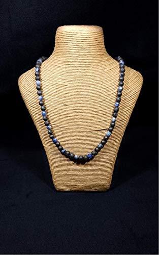 Collana in pietra naturale: sodalite, pietra lavica e argento 925