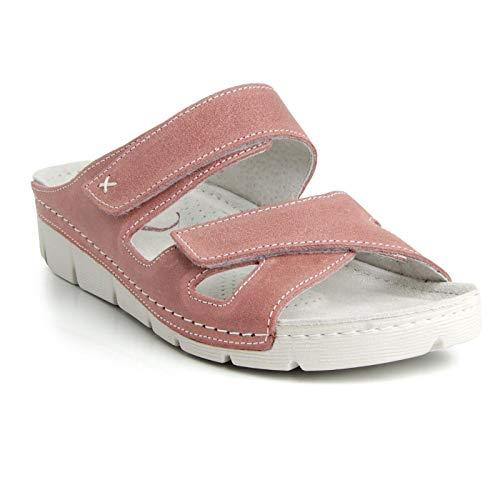 Batz Emilia Ligero y Flexible Sandalias Zuecos Zapatillas Zapatos de Cuero Mujer, Violeta, EU 41