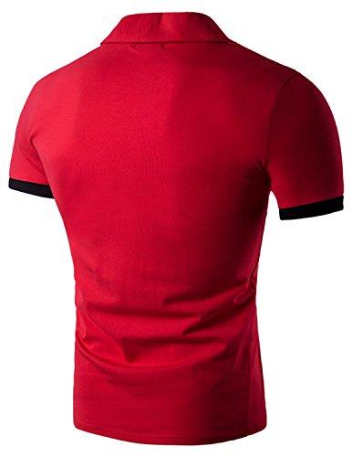 YCHENG Männer Slim Contrast Polo Polohemd Kurzarm Freizeit t-shirt Tops Rot