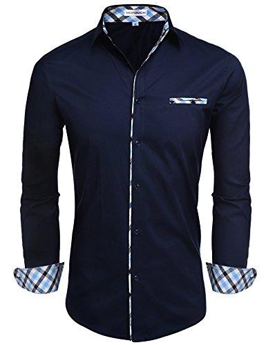 Hotouch uomo camicie blu marino basic slim fit maniche lunghe di cotone modell m