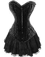 Corsagenkleid Stahl Corsage & Rock Korsett Bustier Top Kleid Schwarz Gothic