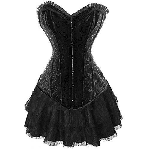 Corsagenkleid Stahl Corsage & Rock Korsett Bustier Top Kleid Schwarz Gothic (EUR(34-36)M, Schwarz) (Brokat-kleid Schwarze)