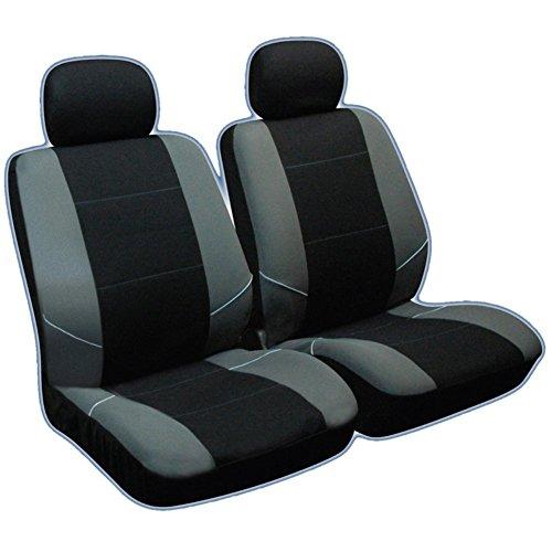 XtremeAuto Housses de sièges avant pour Vauxhall Zafira/Corsa/Astra/Vectra/Insignia/Adam, Ford Fiesta/Focus/Mondeo, Renault Clio/Megane/Laguna/Scenic, Volkswagen Lupo/Caddy/Jetta/Golf/Touran/Passat/Bora/Polo, Seat Ibiza/Cordoba/Altea/Leon/Toledo, Skoda Fabia/Octavia/Roomster/Yeti, Peugeot 206/207/307/308/407/406, Citroën C2/C3/C4/C5/Berlingo/Xsara, Toyota Yaris/Avensis/Corolla/Auris, Audi A1/A2/A3/A4, Honda Accord/Civic, Nissan Almera/Primera/Micra, Hyundai Getz/Accent/Matrix/Lantra, Rover 25/45/75 Gris/noir