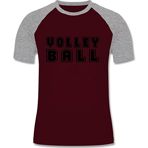 Shirtracer Volleyball - Volleyball Schriftzug - Herren Baseball Shirt Burgundrot/Grau meliert