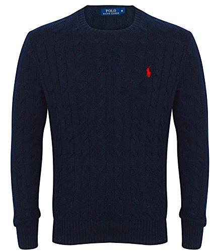 Ralph Lauren Polo Herren Zopfmuster Rundhals Pullover Schwarz, Marineblau, Grau, Weiß, Hellgrau 2015/16 UK Lager - Marine, L (Cable Marine Knit Pullover)