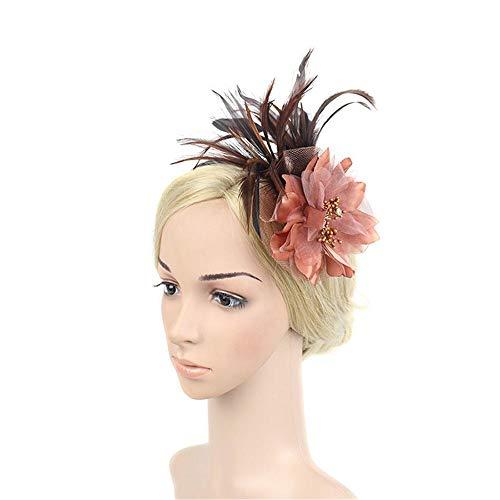 JOYIYUAN Braut Tiara Feder Haarschmuck Exquisite Blume Kopf Bühne Hut Bankett Partei Haarnadel Stirnband (Farbe : Kaffee)