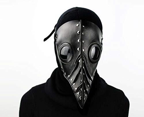 ZTYD Retro Leder Vogel Maske, Halloween Maske, Kostüm Steampunk Gothic Cosplay, beängstigend realistische Prop Gesichtsmaske Party Kostüm Requisiten für Erwachsene,Schwarz (Beängstigend Realistische Kostüm)