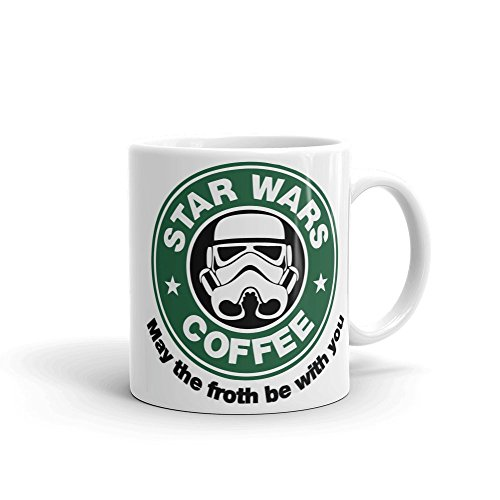 Star Wars Starbucks Inspired May The Froth Be with You Keramiktasse, 312 ml, Weiß
