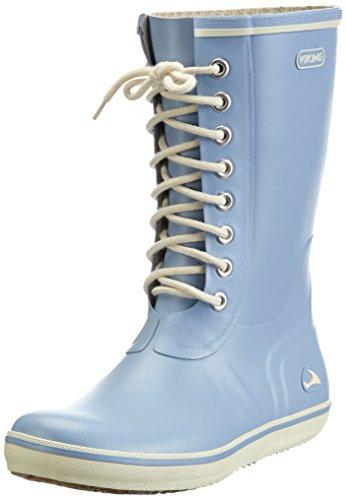 Viking Retro Light, Bottes en caoutchouc de hauteur moyenne, non doublées femme Bleu - Blau (Light Blue 56)