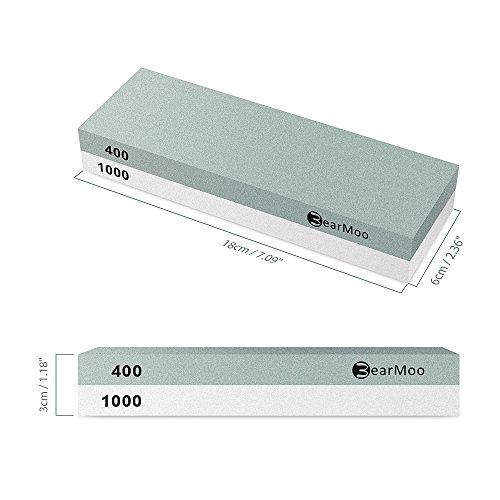 Wetzstein, BearMoo 2-IN-1 Schleifstein Abziehstein für Messer, Körnung 400/1000 mit rutschfestem Silikonhalter - 7