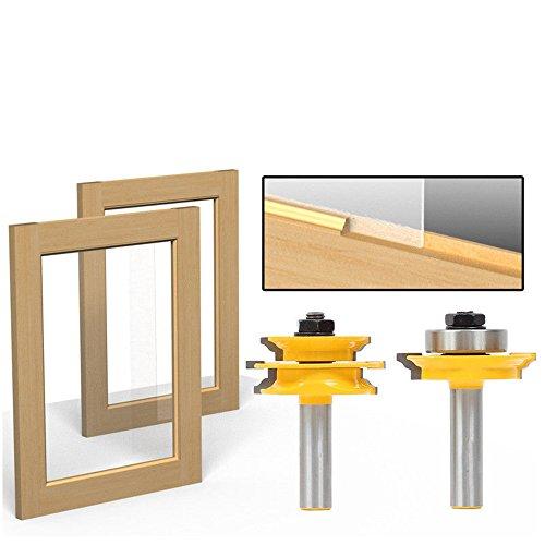 AKUTA 1/5,1cm Schaft Ogee 2Pcs Glas Tür Stange und Stil Router Bit Set C3Hartmetallbestückt Holz Werkzeug Holz-Router Bits