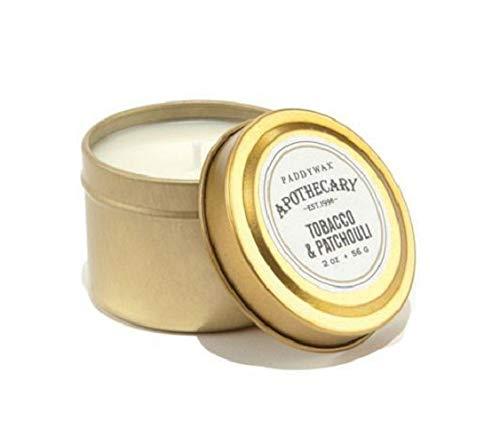Paddywax Bougie de Voyage Ambre et fumée 5 g, Tobacco & Patchouli, 2 oz
