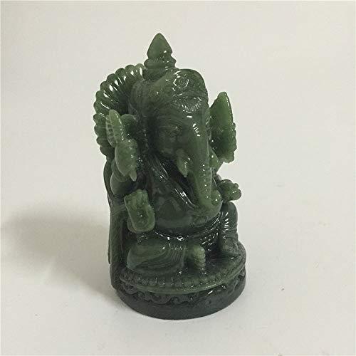QWERWEFR Ganesha Buddha Statue Elefantengott Skulptur Ganesh Figur Künstliche Jade Stein Garten Dekoration Zubehör Statuen (Jade-statue Groß)