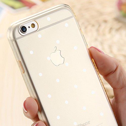 OOH!COLOR® Design Case für iPhone 7 mit Motiv MPA147 weiß Punkte modisch stilvoll Silikon Hülle elastisch Schutzhülle Transparent Case Luxus Cover Slim Etui MPA147 weiße Punkte
