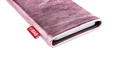 fitBAG Groove Pink housse pochette pour téléphone portable en vrai cuir brillant intérieur en microfibres pour Apple iPhone 6 Plus / iPhone 6S Plus 5.5 inch avec Apple Silicon Case Groove Pink