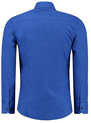 Jeel Herren Hemd Langarm Slim Fit / Figurbetont in schwarz, weiß,rot, gelb, blau uvm. Royal/Schwarz