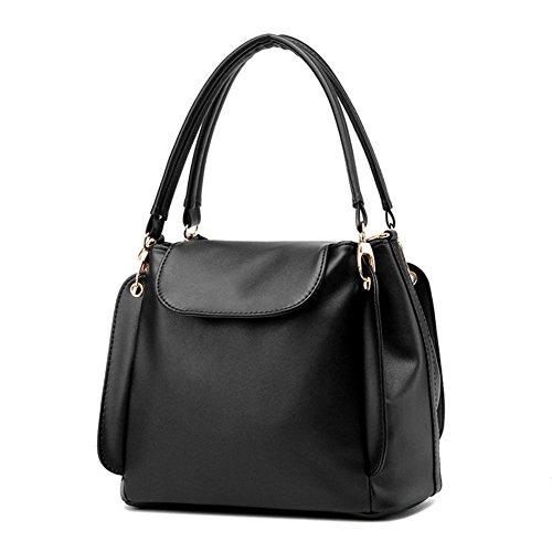 fanhappygo klassische zufällige PU Leder Handtasche Mode Umhängetasche Tasche Schwarz