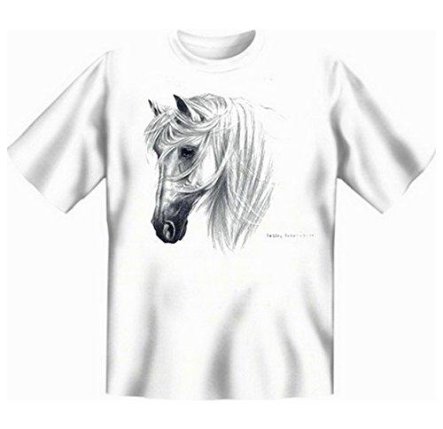 Faszination spanische Pferde Übergrössen Tshirt TRANKO - ANDALUSIAN Gr 5XL in weiss