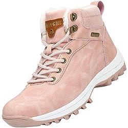 Mishansha Mujer Hombre Botas para Invierno con Forro de Piel Cálidas Zapatos para Caminar Senderismo y Trekking - Calentitas Cómodas Antideslizantes(Rosa, 41 EU)