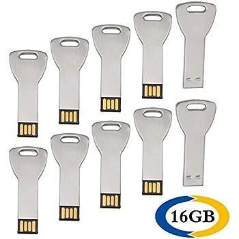 Uflatek 16 GB Pendrive Pack of 10 Llave Memoria USB 2.0 Flash Drive Metal Plata U Disco Alta Velocidad Unidad Flash USB Divertido Memory Stick Almacenamiento de Datos para Regalo: Amazon.es: Electrónica