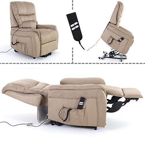 MACOShopde by MACO Möbel Fernsehsessel mit Aufstehhilfe, 2 Motoren, Liege- und Relaxfunktion aus Mikrofaser in Hellbraun