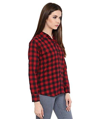 DAMEN MODE WOMEN RED CHECK SHIRT (Small)