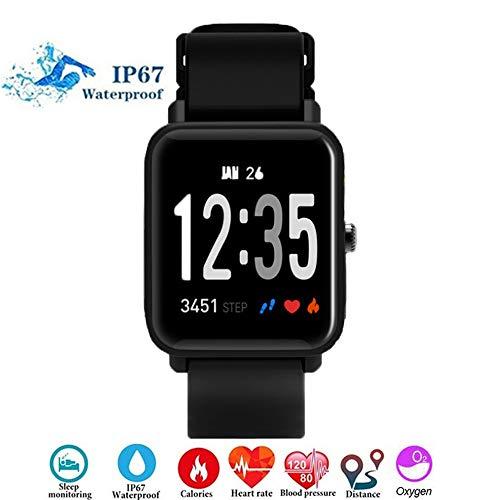 Fitness Tracker,Letopro Activity Tracker Bracelet SmartWatch con monitor per la pressione arteriosa della frequenza cardiaca Cardiofrequenzimetri Pedometri IP67 impermeabile Cronometri Orologi (Nero)