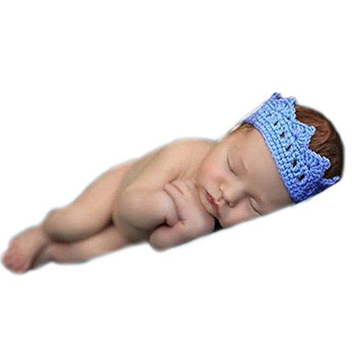 Baby Fotoshooting Kostüm Mädchen Junge Foto Accessoires Outfit Neugeborenen Fotografie Krone Kopfschmuck (Blau)