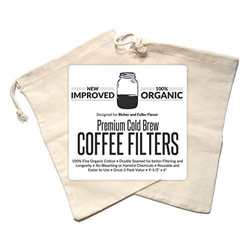 Kalten Brew Kaffeemaschine Filter Premium Bio Baumwolle Nussmilchbeutel wiederverwendbar 24,1x 15,2cm–2Pack (Krug Mit Eis-container)