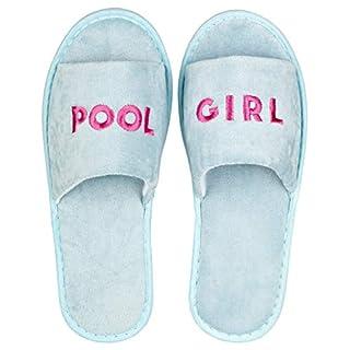likalla Wellness-Slipper offen mit pinker POOL GIRL Bestickung in hellblau, 1 Paar