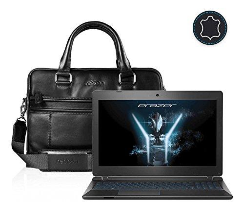 Leder Laptoptasche für Damen/Herren passend für Medion ERAZER P6681 | Schwarz