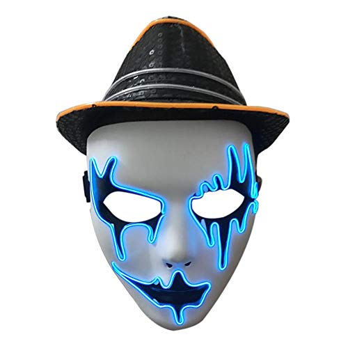 Halloween Cold Light Glowing Mask Holiday Ball El Cold Light Mask Performing Atmosphere Props Dance Party LED Cold Light Mask