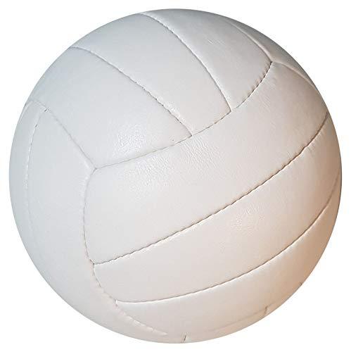 SCHERENKAUF Original Volleyball Gr. 5 mit handgenähtem Echtleder in Weiss (Ledervolleyball)