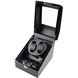 XTELARY Luxury Automatic Rotate Watch Winder 2+3 Leather Storage (Wood shell + Leather Pillow + Piano Paint + Tempered Glass)