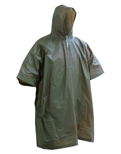 Regencape, schwarz oder oliv, wasserdicht, Kapuze, Vinyl, Gefechts-/Notfall-Regenponcho Grün - Olive